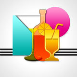 Bottle and glass. Geometric composition with bottle and glass for drink Stock Photo