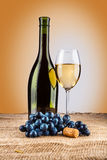 Bottle and glass and grape Stock Photos