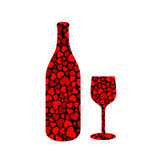 Bottle and glass with hearts Stock Images
