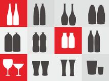 Bottle / Glass icon vector. Vector of some bottle and glass Stock Photos