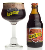 Bottle and glass of Kasteel Rouge fruit beer Royalty Free Stock Photos
