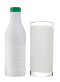 Bottle and glass of milk Royalty Free Stock Image