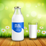 Bottle And Glass Of Milk Royalty Free Stock Images