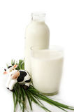 Bottle and glass of milk with toy cow Royalty Free Stock Photography
