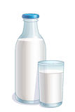 Bottle and glass with milk Stock Image