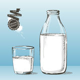 Bottle and glass with milk vector sketch Royalty Free Stock Photography