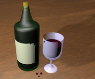 Bottle and glass. Over wooden table, 3d render Royalty Free Stock Image