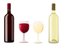Bottle and glass with red white wine Royalty Free Stock Photos
