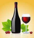 Bottle and glass with red wine Stock Image