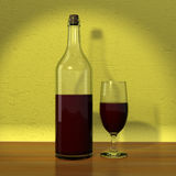 Bottle and glass of red wine. (3d render Stock Photos