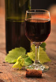 Bottle and glass of red wine Royalty Free Stock Photography