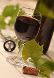 Bottle and glass of red wine Stock Images