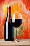 Bottle and glass red wine Stock Photo
