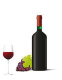 Bottle and glass with red wine and berries Royalty Free Stock Photos