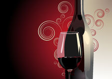 Bottle and glass of red wine. 3d Illustration of a bottle and glass of red wine against a bicolour red and white background with gradient colour, decorative Stock Image