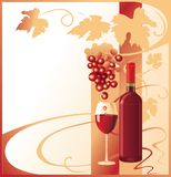 Bottle and glass with red wine decorated with a bunch of grapes royalty free illustration