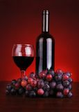 Bottle and glass of red wine with grapes Stock Image