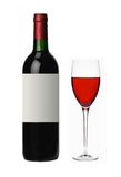 Bottle and glass of red wine isolated on white Royalty Free Stock Photos