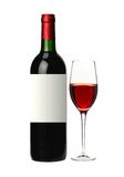 Bottle and glass of red wine isolated on white Stock Photography