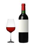 Bottle and glass of red wine isolated on white Royalty Free Stock Photo