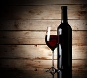 Bottle and glass of red wine Royalty Free Stock Images