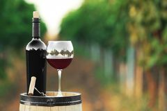 Bottle and glass of red wine. On wooden barrel in vineyard stock photo