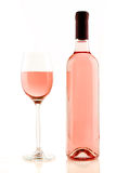 Bottle and glass of rose wine isolated Royalty Free Stock Images