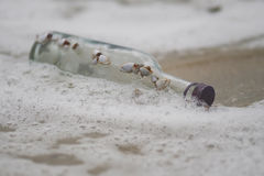 Bottle Glass In The Sea Stock Images