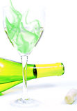 Bottle, Glass with Smoke and Cork Royalty Free Stock Image
