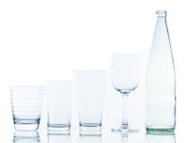 Bottle and Glass water clear isolate Royalty Free Stock Photo
