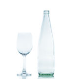 Bottle and Glass water clear isolate Stock Image