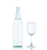Bottle and Glass water clear isolate Stock Images