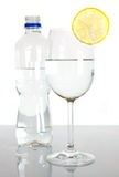 Bottle and glass of water with lemon slice Royalty Free Stock Photography