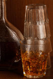 Bottle and glass with whisky Stock Images