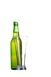 Bottle and glass  on white Royalty Free Stock Photos