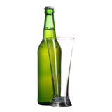 Bottle and glass  on white Stock Photography
