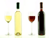 Bottle and glass of white and red wine isolated royalty free stock photo