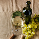 Bottle and glass of white wine Stock Photos