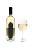Bottle and glass of white wine Stock Photo