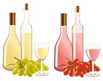 Bottle and glass with white wine and grapes Stock Photography