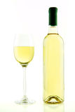Bottle and glass of white wine isolated Royalty Free Stock Images