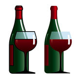 Bottle and glass with wine. Colored illustration of bottle and glass with wine Stock Images