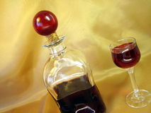 Bottle and glass wine royalty free stock photo