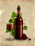 Bottle and glass with wine Stock Images