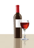BOTTLE AND GLASS. OF WINE stock illustration