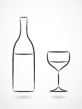 Bottle and glass of wine contour drawing Royalty Free Stock Photos