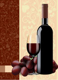 Bottle, glass of wine and grapes on floral background. Bottle glass of wine and grapes on floral background Royalty Free Stock Image
