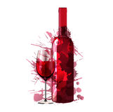 Bottle and glass of wine made of colorful splashes. On white backgound Royalty Free Stock Image