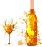 Bottle and glass of wine made of colorful splashes. On white backgound Stock Photo