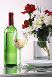 Bottle and glass of  wine on white background Royalty Free Stock Photos